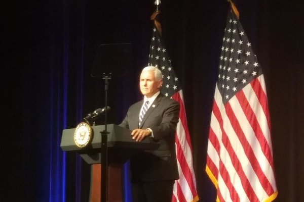 Vice President Mike Pence speaks to a Pentagon audience to announce the administration's plans to stand up a U.S. Space Force and related organizations Aug. 9.