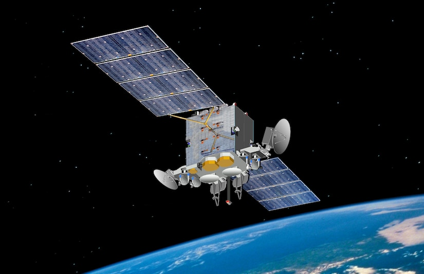 Pictured is an artist's rendering of the Advanced Extremely High Frequency satellite. AEHF-1 launched Aug. 14, 2010.