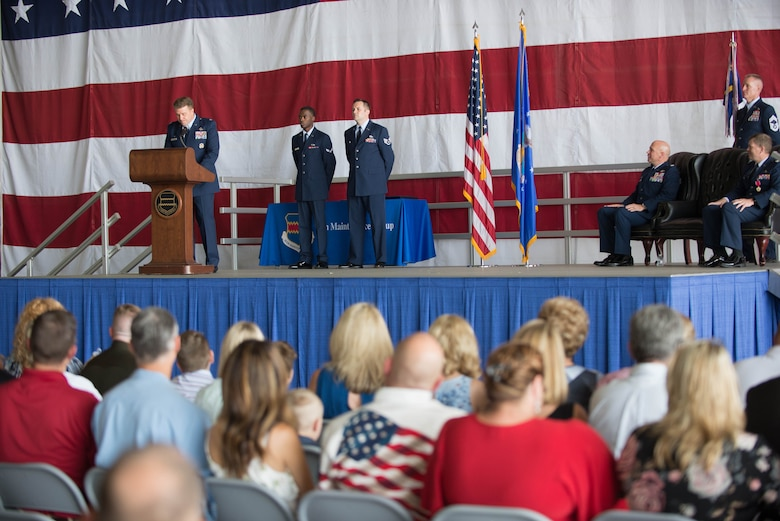 U.S. Air Force Col. Todd Hammond, the incoming 55th Maintenance Group (MXG) commander, speaks during a change of command ceremony July 25, 2018, at Offutt Air Force Base (AFB), Nebraska. Before coming to Offutt AFB, Hammond led the 51st Maintenance Group at Osan Air Base, Republic of Korea. (U.S. Air Force photo by Zachary Hada )