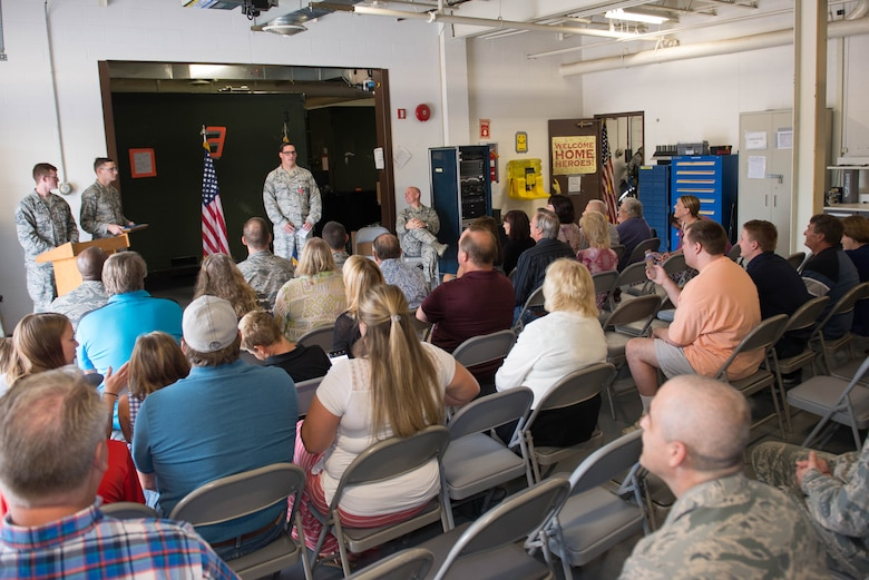 Tech. Sgt. William Adams, 55th Strategic Communications Squadron tactical radio supervisor, speaks to an audience at his Bronze Star Medal presentation ceremony Aug. 7, 2018, at Offutt Air Force Base, Nebraska. Adams was awarded the Bronze Star Medal for meritorious achievement during a yearlong deployment at Kandahar Airfield, Afghanistan. (U.S. Air Force photo by Zachary Hada)