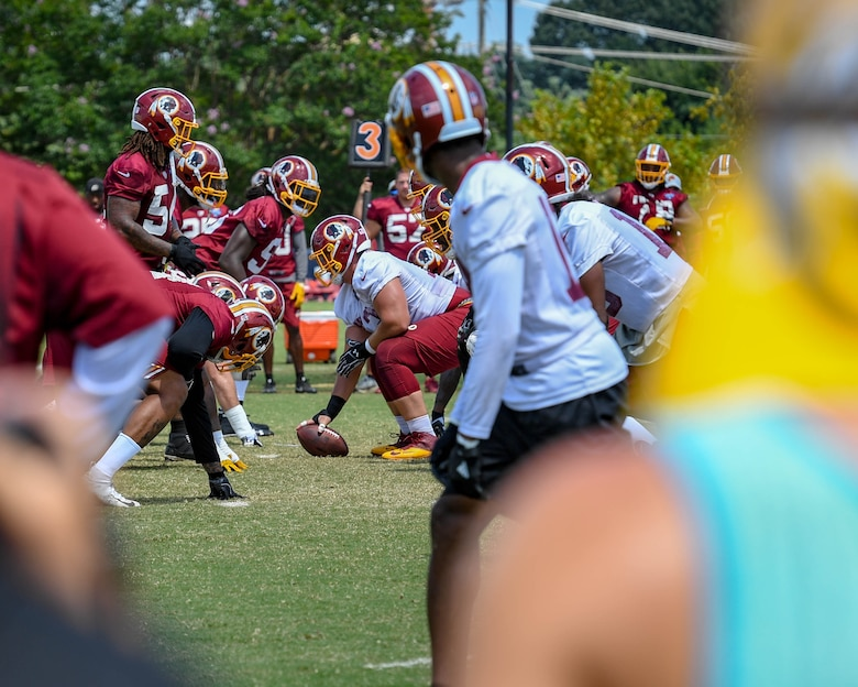The Washington Redskins practice during their training camp in Richmond, Virginia, August 7, 2018.