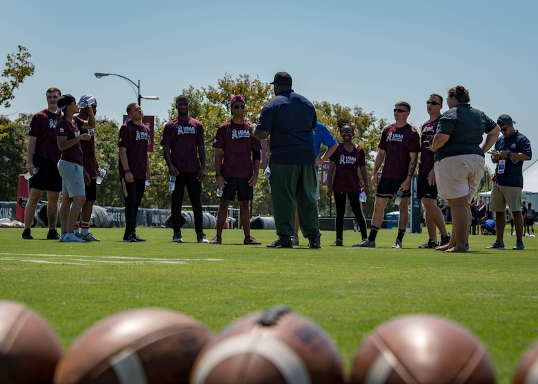 The United Services Automobile Association hosts service member's day at the Washington Redskins training camp practice in Richmond, Virginia, August 7, 2018.