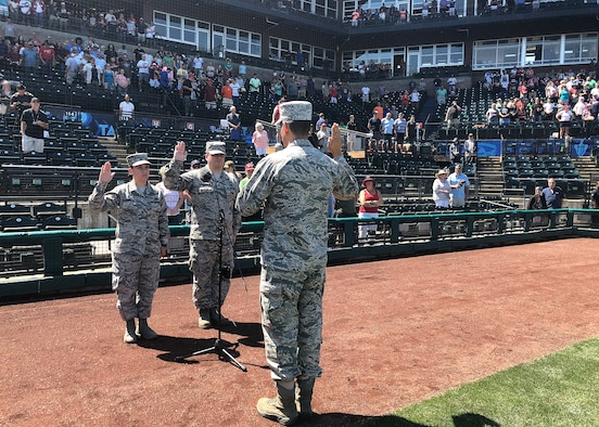 Reenlistment ceremony at Tacoma Rainiers baseball game.