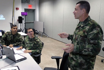 Commander of Combined Forces Land Component Command, Brig. Gen. Gerardo Melo, Colombian Army, speaks with soldiers during Operation Futuro Noble at the Mission Training Complex at Joint Base San Antonio-Fort Sam Houston Aug. 8.