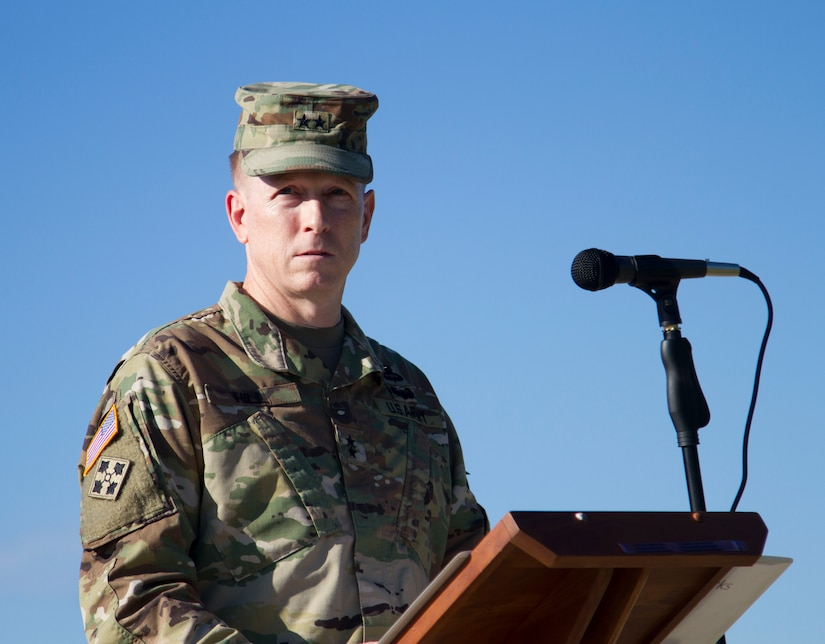 Maj. Gen. David Hill, U.S. Army Central Deputy Commander, addresses the multi-national formation during the opening ceremony of Exercise Steppe Eagle 18. Exercises like these strengthens and refines peaceful military-to-military relationships and underscores U.S. committment, and increases interoperability with participating nations.
