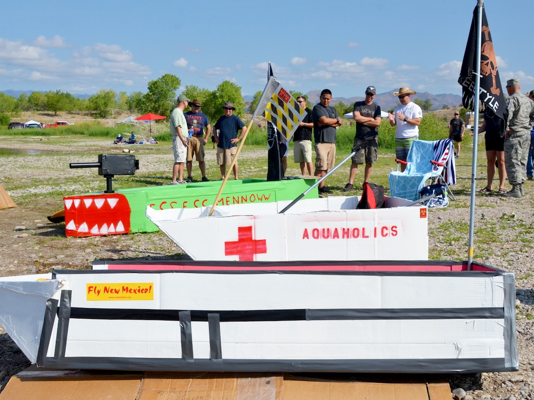 """The boats entered in the annual Cardboard Regatta sported unique names such as """"Aquaholics"""" and """"Ess Ess Minnow."""""""