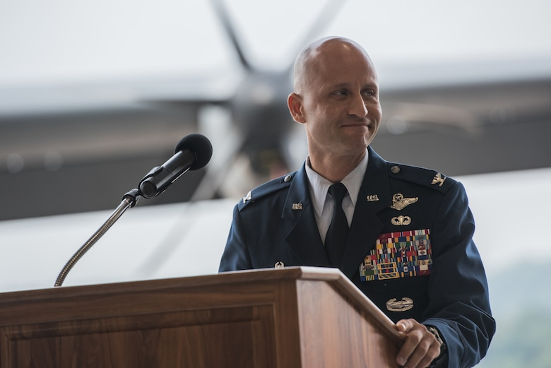Col. Terrence L. Koudelka, 193rd Special Operations Wing commander, Pennsylvania Air National Guard, addresses 193rd SOW Airmen during an assumption of command ceremony.