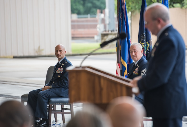 Col. Terrence L. Koudelka, 193rd Special Operations Wing commander, addresses the crowd during an assumption of command ceremony.