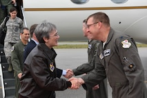 The Honorable Heather A. Wilson, the Secretary of the Air Force, is greeted by Col. Shawn E. Anger, the 354th Fighter Wing vice commander, Aug. 10, 2018 at Eielson Air Force Base, Alaska. Wilson graduated from the Air Force Academy in 1982 and served in the U.S. Air Force until 1989. (U.S. Air Force photo by Airman 1st Class Eric M. Fisher)