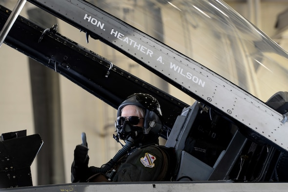 The Honorable Heather A. Wilson, the Secretary of the Air Force, gives a thumbs-up before her flight in an 18th Aggressor Squadron F-16 Fighting Falcon, Aug. 10, 2018, at Eielson Air Force Base, Alaska. Wilson flew with an 18th AGRS pilot over part of the Joint Pacific Alaska Range Complex, which is one of the largest training areas in the Department of Defense. (U.S. Air Force photo by Airman 1st Class Eric M. Fisher)