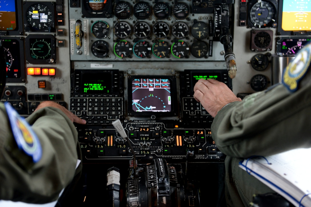 U.S. Air Force Airmen from the 351st Air Refueling Squadron prepare a KC-135 Stratotanker for a flight to Keflavik Air Base, Iceland, at RAF Mildenhall, England, Aug. 10, 2018. The 100th Air Refueling Wing supported deployed Airmen and aircraft from the 48th Fighter Wing in support of NATO's Icelandic Air Surveillance mission. The U.S. has conducted this NATO mission in Iceland annually since 2008. (U.S. Air Force photo by Airman 1st Class Alexandria Lee)