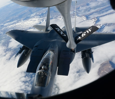 A U.S. Air Force F-15C Eagle assigned to the 493rd Expeditionary Fighter Squadron receives fuel from a KC-135 Stratotanker assigned to the 351st Air Refueling Squadron over Iceland, Aug. 10, 2018. Successful international operations are a testament to the cooperative efforts and enduring relationship between the U.S., allies and partner nations. (U.S. Air Force photo by Airman 1st Class Alexandria Lee)