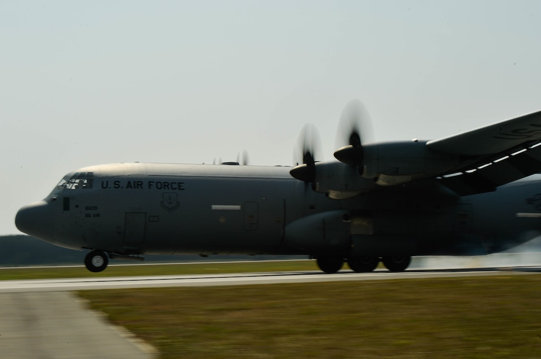 A U.S. Air Force C-130J Super Hercules assigned to the 37th Airlift Squadron lands on Powidz Air Base, Poland, Aug. 9, 2018. Airmen and aircraft assigned to the 37th Airlift Squadron conduct bilateral training exercises in Poland annually. (U.S. Air Force photo by Senior Airman Joshua Magbanua)