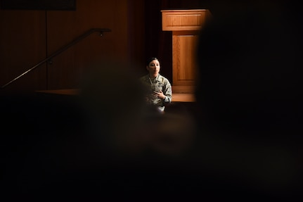 Master Sgt. Anna Franklin, AFPC Manager of Special Duty and Developmental Special Duty Assignments, briefs Airmen on the Enlisted Assignment Processes and Developmental Special Duties Aug. 9, 2018 at the Air Base Theater. Members from AFPC visited base to educate Airmen on different opportunities the Air Force provides along with different resources to gather more information.