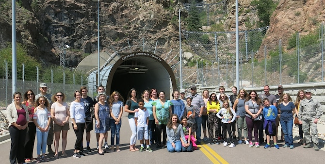 Spouses and significant others of the 14th Test Squadron before they entered the Cheyenne Mountain Complex near Colorado Springs, Colo. August 4, 2018. The secretive base is best known as a NORAD facility and has been featured in several movies and television shows.