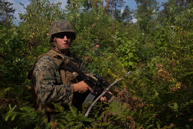 Lance Cpl. Adam Wood, a team leader with India Company, 3rd Battalion, 25th Marine Regiment, provide security as combat engineers clear an obstacle during a live-fire range at Camp Grayling, Mich., Aug. 7, 2018. Exercise Northern Strike is a National Guard Bureau-sponsored training exercise that unites service members from multiple branches, states and coalition countries to conduct combined ground and air combat operations. (U.S. Marine Corps photo by Cpl. Niles Lee)