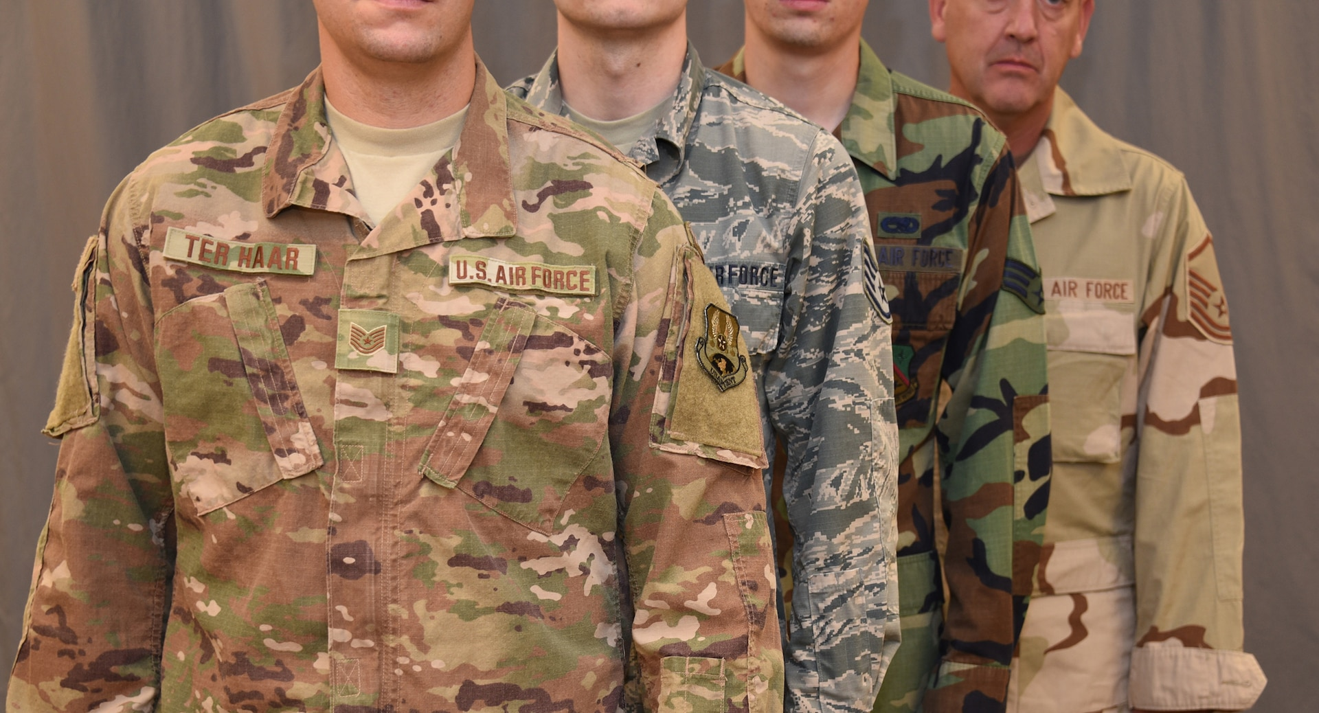Starting October 1, 2018, the Operational Camouflage Pattern uniform will be the new uniform of the U.S. Air Force. The OCP Replaces the Airman Battle Uniform, which has been the standard uniform since 2011, when it replaced both the woodland camouflage Battle Dress Uniform and Desert Camouflage Uniform.