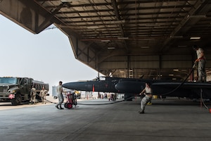Airmen with the 9th Logistics Readiness Squadron and the 9th Aircraft Maintenance Squadron refuel a U-2 Dragon Lady at Beale Air Force Base, California, Aug. 9, 2018. Beale Airmen are responsible for maintaining and operating reconnaissance platforms such as the RQ-4 Global Hawk and U-2. (U.S. Air Force photo by Senior Airman Justin Parsons)