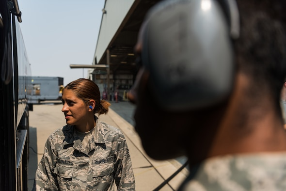 Airman 1st Class Heather Manzanares, 9th Logistics Readiness Squadron petroleum, oil and lubricants operator monitors gauges on the fuel truck at Beale Air Force Base, California, Aug. 9, 2017. The R-11 refueler operated by POL Airmen has a maximum capacity of 6,000 gallons of fuel and can deliver it at a rate of 600 gallons a minute.