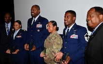 Winners of the 2017 and 2018 Tuskegee Airmen Awards pose for group photos at the Military Diversity Luncheon in Las Vegas, Aug. 9, 2018. Master Sgt. Demetrius, 432nd Wing inspection superintendent, has demonstrated the spirit of the Tuskegee Airmen and wishes to continue helping people recognize and overcome the various challenges they are faced with. (U.S. Air Force photo by Airman 1st Class Haley Stevens)