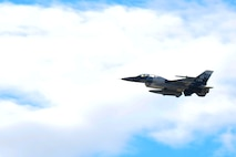 A U.S. Air Force F-16 Fighting Falcon, assigned to the 18th Aggressor Squadron out of Eielson Air Force Base, Alaska soars through the sky Aug. 10, 2018. The F-16, flown by Lt. Col. John Anderson, commander of the 353rd Combat Training Squadron, provided the Honorable Heather A. Wilson, the Secretary of the Air Force, with an orientation flight of the Joint Pacific Alaska Range Complex. (U.S. Air Force photo by Airman 1st Class Eric M. Fisher)