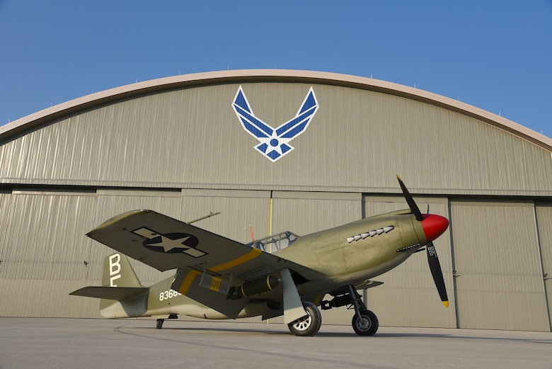 A view of the North American A-36A Mustang before restoration crews at the National Museum of the U.S. Air Force moved the aircraft into the WWII Gallery on Aug. 13, 2018. Several WWII era aircraft on display were temporarily placed throughout the museum to provide adequate space for the Memphis Belle exhibit opening events. (U.S. Air Force photo by Ken LaRock)