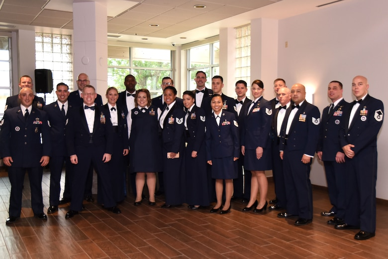 Goodfellow senior noncommissioned officer inductees await the medallion ceremony at the Event Center on Goodfellow Air Force Base, Texas, Aug. 10, 2018. The inductees received medallions before the induction ceremony where friends and family could support their Airmen during the induction ceremony. (U.S. Air Force photo by Airman 1st Class Seraiah Hines/Released)