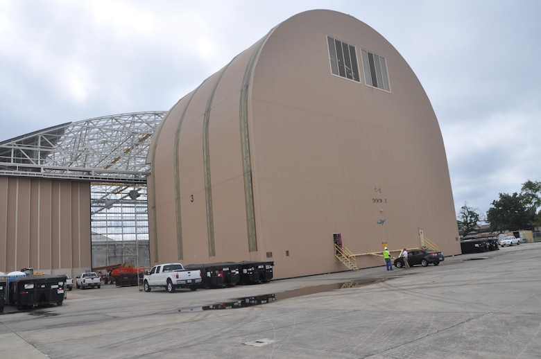 A view from the backside of Dock 3 of the Building 125 hangar complex on Robins Air Force Base. The 14.7 acre complex is the largest in the country and houses C-5 Galaxy, C-130s and F-15 aircraft. Contractors from New South Construction are renovating the 1940s era building.