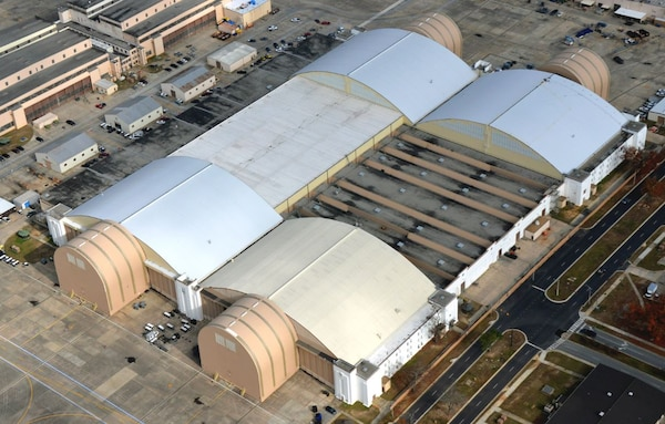 An aerial overview of the Building 125 complex. At 14.7 acres, it's the largest hangar facility in the country. It houses C-5 Galaxy, C-130s and F-15 aircraft.