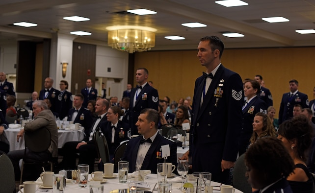 "Thirty-five master sergeant selects were sworn in by Chief Master Sgt. Lee Mills, 92nd Air Refueling Wing command chief, during the 2018 Senior Non-Commissioned Officer Induction Ceremony at The Centennial Hotel Spokane in Spokane, Washington, Aug. 10, 2018. ""Sergeant"" is an ancient honorable term that denotes a person possessing special skills, trust and integrity. (U.S. Air Force photo/Airman 1st Class Jesenia Landaverde)"