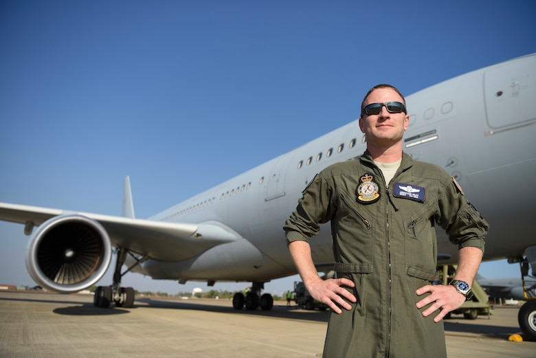 U.S. Air Force Master Sgt. Jonathan Haas, Royal Australian Air Force 33rd Squadron KC-30A Multi-Role Tanker Transport air-refueling operator, poses for a photo at RAAF Base Darwin, Australia, Aug. 8, 2018. Haas has spent the last two years based out of RAAF Base Amberley, Australia, serving as an instructor in the USAF Military Personnel Exchange Program. (U.S. Air Force photo by Senior Airman Savannah L. Waters)