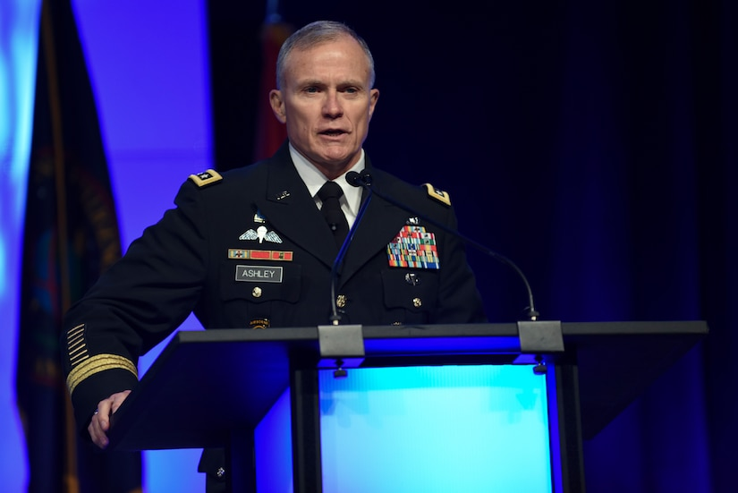 DIA Director Lt. Gen. Robert Ashley gives opening remarks during the 2018 DoDIIS Worldwide Conference August 13, 2018, in Omaha, Nebraska.