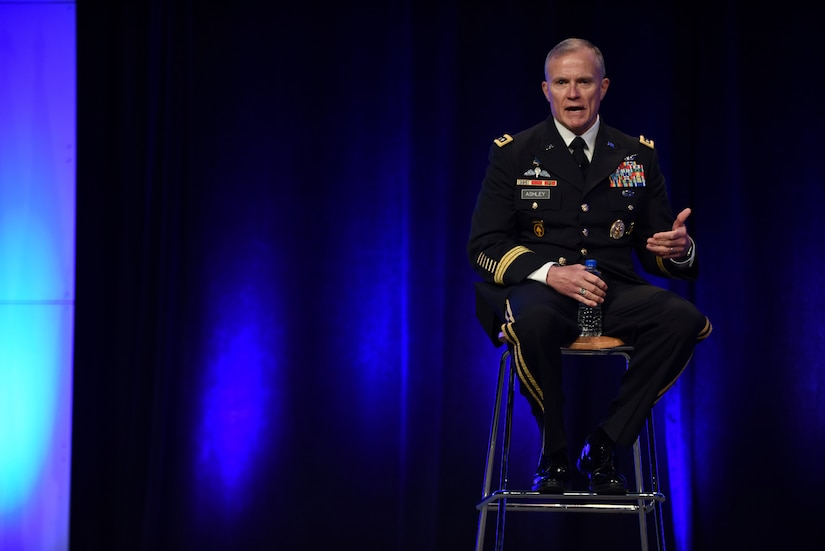 DIA Director Lt. Gen. Robert Ashley answers a question submitted via social media during the 2018 DoDIIS Worldwide Conference August 13, 2018, in Omaha, Nebraska.