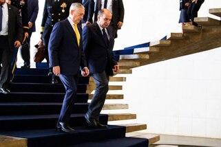 Defense Secretary James N. Mattis walks down steps with Foreign Minister Aloysio Nunes of Brazil.