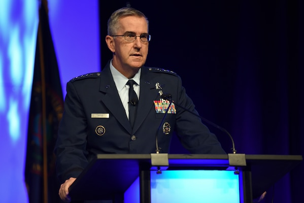 Gen. John E. Hyten, commander, U.S. Strategic Command talks integrated command relationships and the role of information and intelligence to the combatant commands during the 2018 DoDIIS Worldwide Conference August 13, 2018, in Omaha, Nebraska.