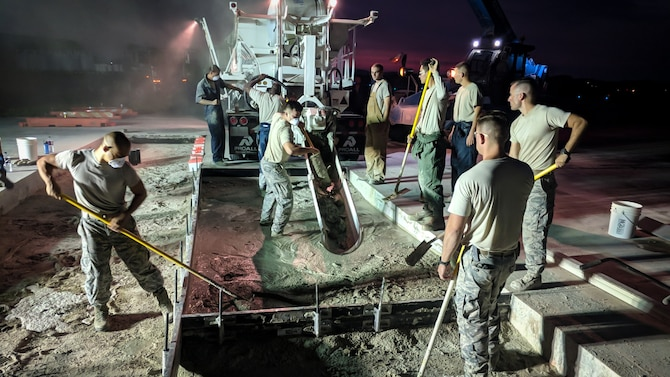 The 51st Civil Engineer Squadron structures flight, the Dirt Boys, replaced 18 feet of taxiway after Operations Support Squadron personnel discovered a rupture in the cement on Osan Air Base, Aug. 4 to 6, 2018.