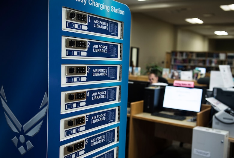 A 10-port charging station sits in the middle of the McElveen Information and Learning Center at Shaw Air Force Base, S.C., Aug. 13, 2018.