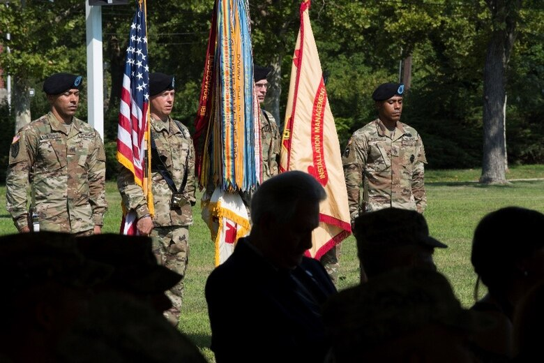 Soldiers from the U.S. Army Joint Base McGuire-Dix-Lakehurst NCO Academy color guard present the colors during the Army Support Activity-Fort Dix change of command ceremony at Sharp Field on Joint Base MDL, N.J., Aug. 8, 2018. During change of command ceremonies, the passing of the colors symbolizes the transfer of authority and allegiance of the Soldiers from the outgoing to incoming commander.