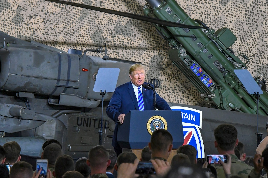 President Donald J. Trump speaks to service members at Fort Drum, N.Y.