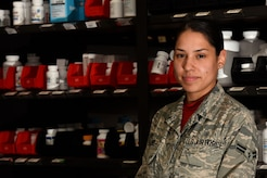 U.S. Air Force Airman 1st Class Jeannie Toro, 20th Medical Support Squadron pharmacy technician, stands in the Base Exchange pharmacy at Shaw Air Force Base, S.C., Aug. 10, 2018.