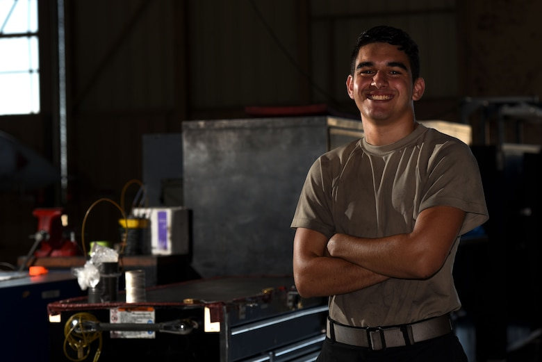 U.S. Air Force Airman 1st Class Jimmy Knutson, 20th Equipment Maintenance Squadron tactical aircraft maintainer, stands next to toolboxes in his work center at Shaw Air Force Base, S.C., Aug. 10, 2018.