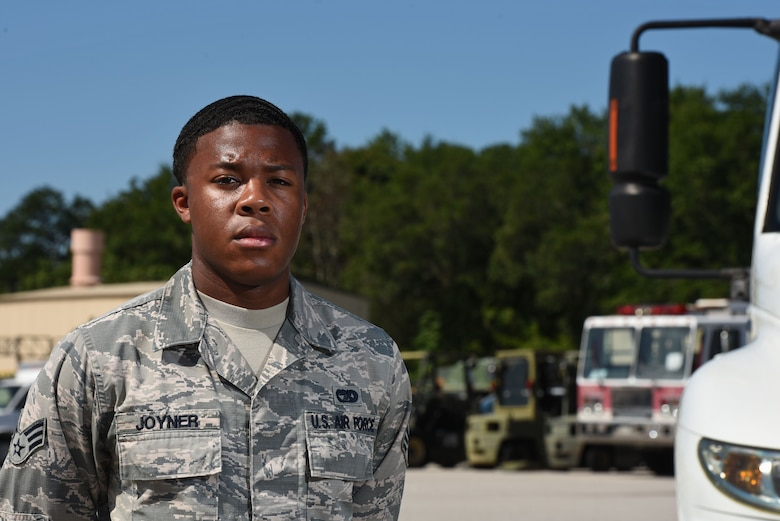 U.S. Air Force Senior Airman Kadeem Joyner, 20th Logistics Readiness Squadron vehicle operator, stands in the vehicle yard at Shaw Air Force Base, S.C., Aug. 10, 2018.