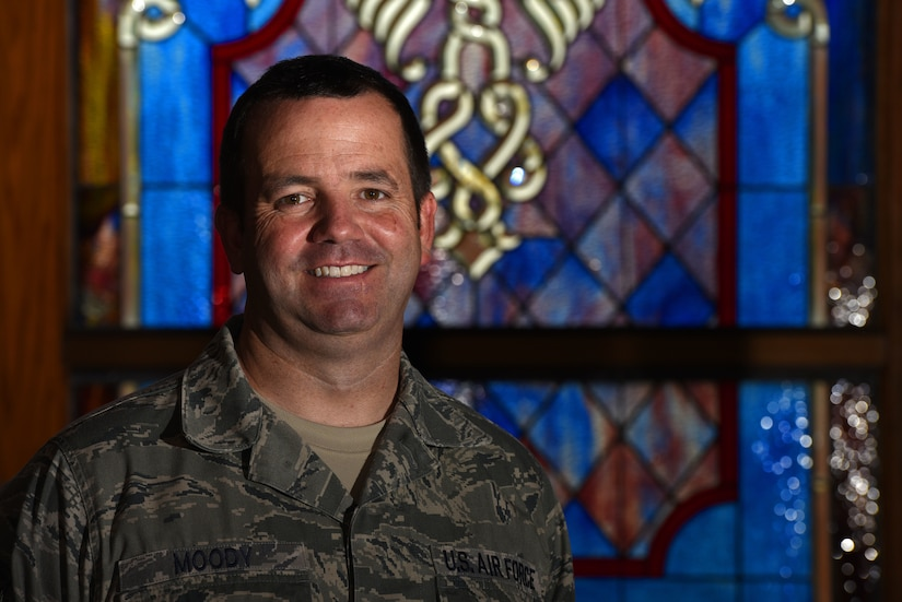 U.S. Air Force Tech. Sgt. Jeffrey Moody, 20th FW chapel religious affairs specialist, stands in the main chapel at Shaw Air Force Base, S.C., Aug. 13, 2018.
