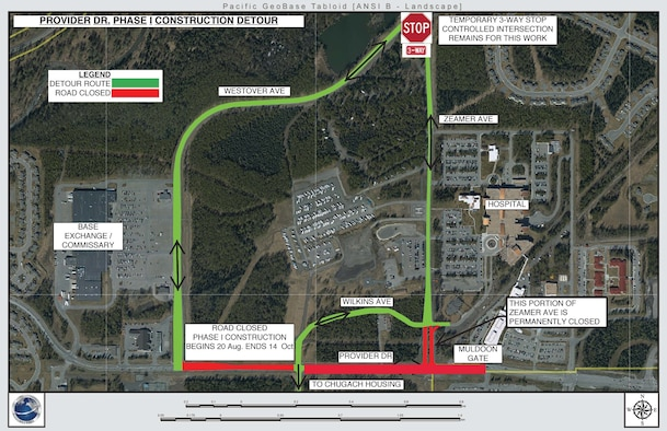A map shows the detours to be in effect during a Muldoon Gate and Provider Drive closure scheduled for Aug. 20 to Oct. 14, 2018, at Joint Base Elmendorf-Richardson, Alaska.