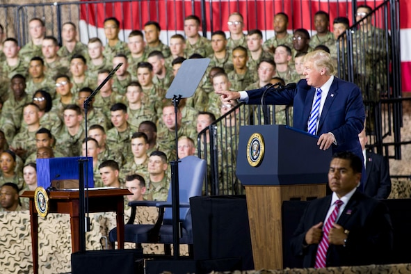 President Donald Trump speaks to Fort Drum Soldiers and personnel during a signing ceremony for the fiscal year 2019 National Defense Authorization Act, Aug. 13, 2018.