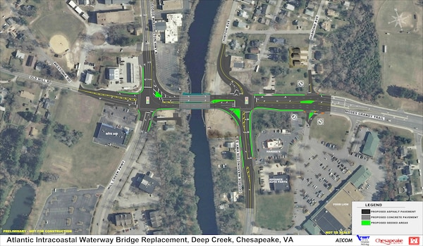 A graphic depicting the location and lane alignment of the new Deep Creek Bridge in Chesapeake, Virginia.
