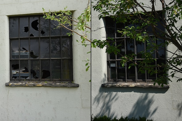PETERSON AIR FORCE BASE, Colo. – A window was broken at building 980 (left) outside the Peterson Air and Space Museum after a hail storm at Peterson Air Force Base, Colorado, July 28, 2016. The photo on the right shows the repairs to the window made by the 21st Civil Engineer Squadron since the storm in 2016. (U.S. Air Force photo illustration by Robb Lingley)