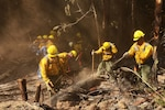 Airmen from the Washington Air National Guard fight the Sheep Creek fire Aug. 6, 2018, near Northport, Wash.  Washington Army and Air National Guardsmen made up 102 of the 350 personnel assigned to fight the Sheep Creek fire.