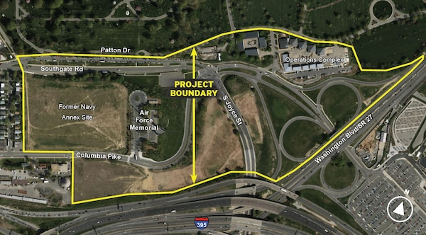 A graphic depicting the boundaries for the Arlington National Cemetery Southern Expansion Project.