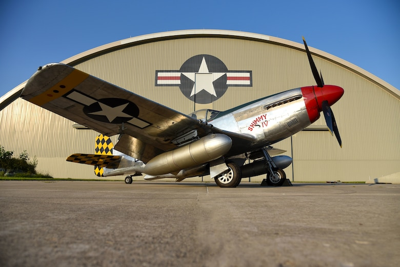 A view of the North American P-51D Mustang before restoration crews at the National Museum of the U.S. Air Force moved the aircraft into the WWII Gallery on Aug. 14, 2018. Several WWII era aircraft on display were temporarily placed throughout the museum to provide adequate space for the Memphis Belle exhibit opening events. (U.S. Air Force photo by Ken LaRock)